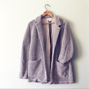 Style & Co Gray Knit Oversized Blazer Sweater